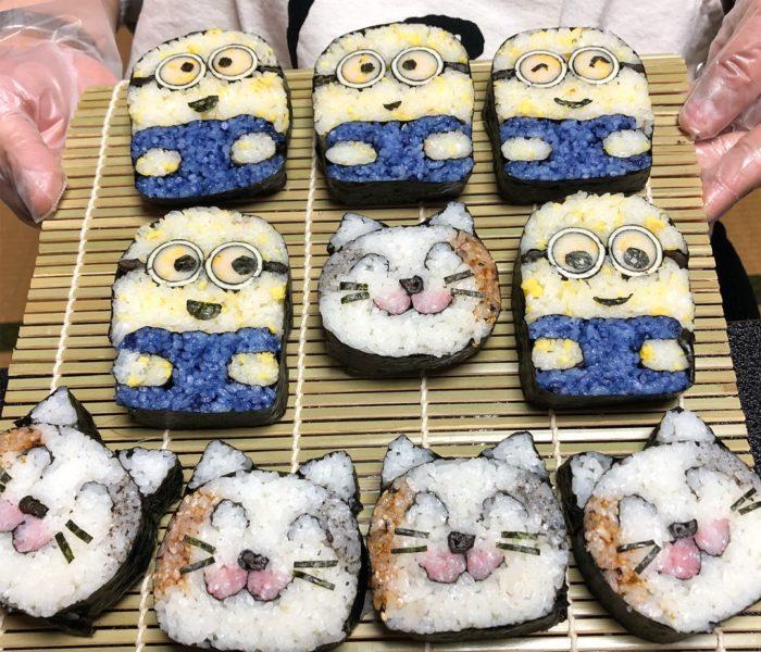 デコ巻き寿司 ミニオンズ・三毛猫