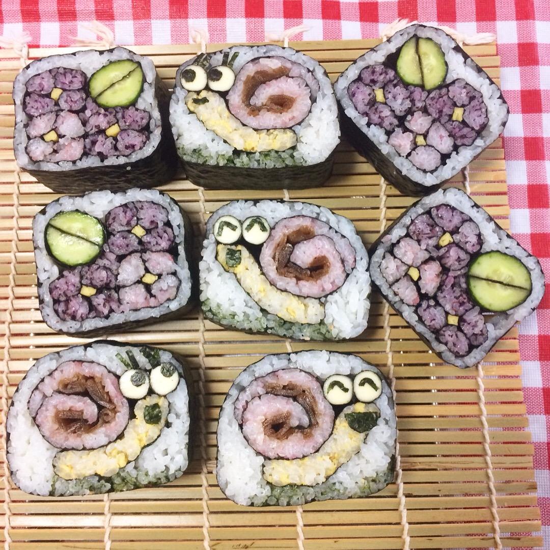 デコ巻き寿司アジサイ&かたつむり
